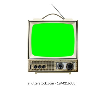 Grungy vintage portable television isolated on white with chroma green screen.
