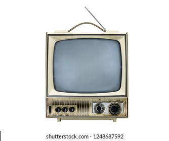 Grungy vintage portable television isolated on white with turned off screen.