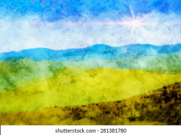 Grungy watercolor canvas textured digital illustration of a sky and mountain landscape scene with sun flare