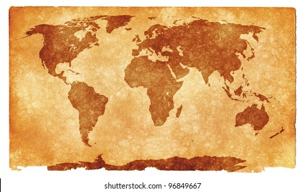 Grungy World Map on Vintage Paper (with sepia toning for a more aged look)