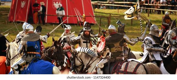 Grunwald, Poland - July 14th 2018: Battle of Grunwald 1410 reenactment