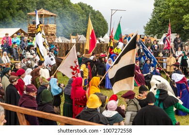"GRUNWALD, POLAND - July 22, 2016: Festival ""Grunwald 2016"". Battle of Grunwald 601th anniversary, 4000 reenactors,1200 knights, near 20k viewers"