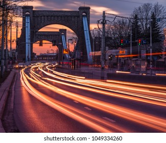 Grunwaldzki bridge over the Odra river at night in Wroclaw, Silesia, Poland