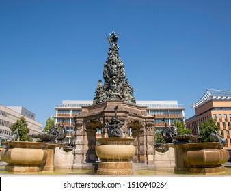 Grupello pyramid  water fountain in paradeplatz, Mannheim, Germany