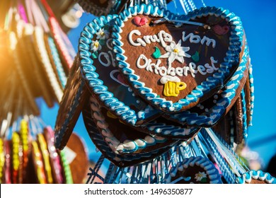 Gruss vom Oktoberfest (engl. Greetz from Octoberfestival) - gingerbread hearts from the oktoberfest in munich, Germany