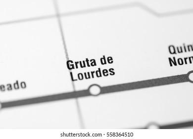 Gruta de Lourdes Station. Santiago Metro map.