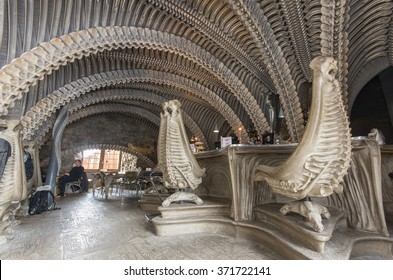 GRUYERES, SWITZERLAND - JANUARY 16, 2016: interior of HR Giger cafe in Gruyeres, themed along the lines of his biomechanical style as shown in the Alien films