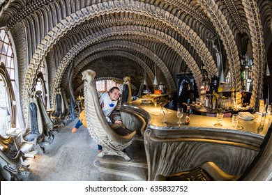 GRUYERES, SWITZERLAND - MAY 1, 2017: View of the interior of the HR Giger Bar in the small Castle Village of Gruyeres on May 1, 2017. This artist was famous for blockbuster movies such as Alien.