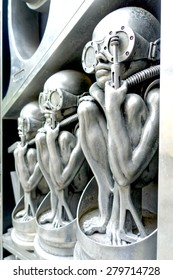 """GRUYERES, SWITZERLAND - MAY 15:  H.R. Giger's Museum entrance pictured on May 15, 2015, in Gruyeres, Switzerland. HR Giger was the Swiss artist who designed the aliens in the """"Alien"""" movie sequel."""