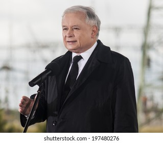 GRYFINO, POLAND - MAY 14, 2014:Portrait of former polish prime minister Jaroslaw Kaczynski, leader of right-wing, conservative party Law and Justice (PiS).
