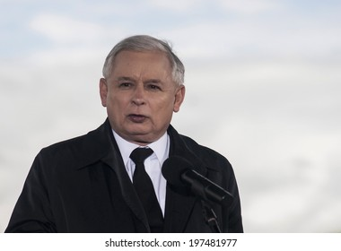 GRYFINO, POLAND-MAY 14, 2014: Press Conference during campaign to EU Parliament.Jaroslaw Kaczynski, former polish prime minister, leader of right-wing, conservative party Law and Justice (PiS).