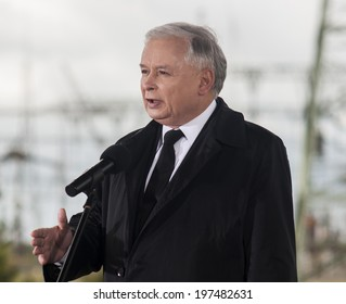 GRYFINO, POLAND-MAY 14, 2014:Jaroslaw Kaczynski, former polish prime minister, leader of right-wing, conservative party Law and Justice (PiS).Campaign to Eu Parliament.