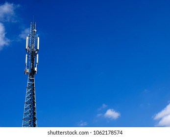 GSM antenna of mobile communication on a blue sky background