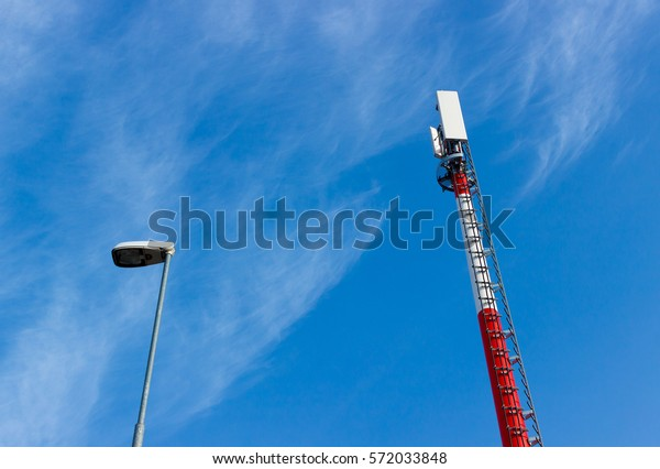 Gsm Antenna Tower Transmitter Antenna Red Stock Photo (Edit Now