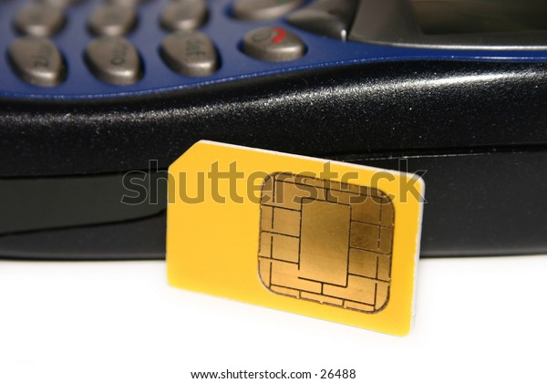 A GSM SIM card (smartcard) and a GSM mobile phone