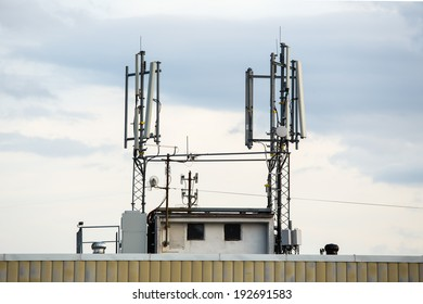 GSM Transceiver on a Roof of Block, Base Transceiver Station (BTS), Mobile Communication Technology