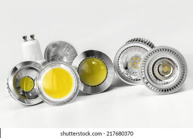 GU10 LED bulbs with different sizes of chips used also different shapes