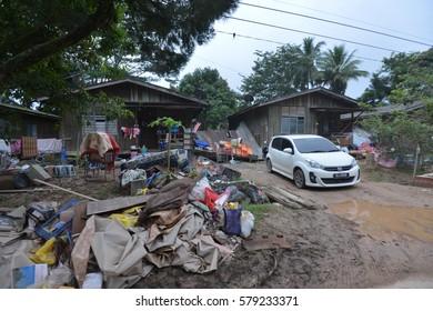 Gua Musang, Kelantan - January 10, 2015. The aftermath from the worst flood that ever hit Kelantan, Malaysia on January 2, 2015.