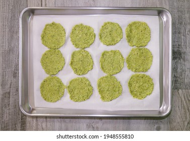 Guacamole chips ready for baking.
