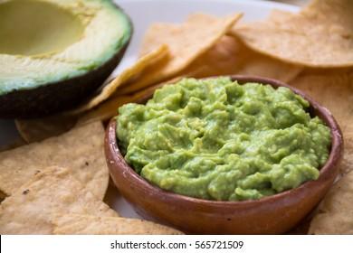 Guacamole dip and tortilla chips