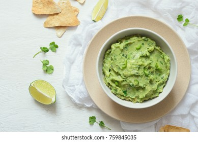 Guacamole freshly cooked and served in a bowl, overhead view