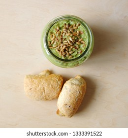 guacamole in jar and homemade fresh buns