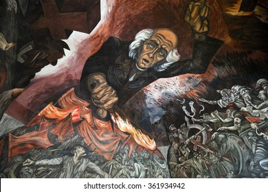 GUADAJARA, MEXICO - January 1 2015 - Portrait of Mural Miguel Hidalgo Costilla, leader Mexican Independence at walking up stairs of Government Palace, Guadalajara, Mexico.