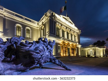GUADAJARA, MEXICO - January 1 2015 -The university building at night. Gudalajara is the capital and largest city of the Mexican state of Jalisco.