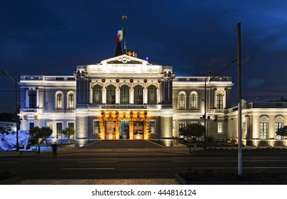 GUADAJARA, MEXICO - January 1 2015 -The university building at night. Gudalajara is the capital and largest city of the Mexican state of Jalisco, and the seat of the municipality of Guadalajara.
