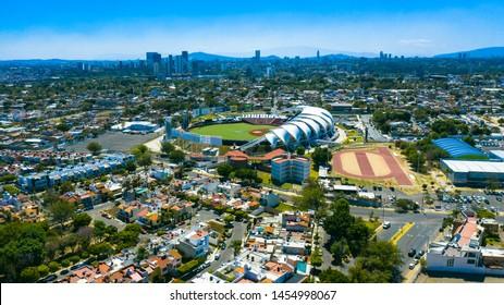 Guadalajara, Jalisco, Mexico. February 27th, 2019. Aerial view of the Estadio Panamericano, house for the mexican baseball team Charros de Jalisco.