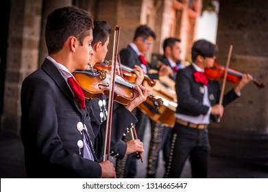 Guadalajara, Jalisco, Mexico, March 2, 2018:  Mariachi band singing.