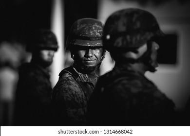 Guadalajara, Jalisco, Mexico, March 2, 2018: Mexican soldiers.