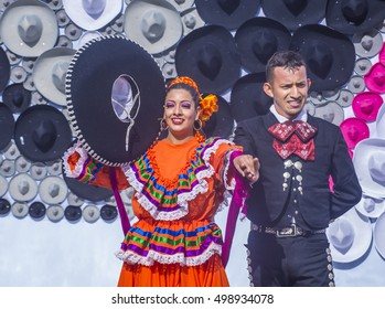 GUADALAJARA , MEXICO - AUG 28 : Dancer Participates at the 23rd International Mariachi & Charros festival in Guadalajara Mexico on August 28 , 2016.