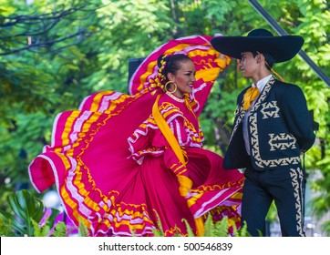 GUADALAJARA , MEXICO - AUG 28 : Dancers Participate at the 23rd International Mariachi & Charros festival in Guadalajara Mexico on August 28 , 2016.
