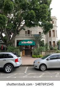"Guadalajara, Mexico; August 25 2019: Colonia Americana, ""La Casa del Waffle"" The waffle house, housed in a beautiful colonial building on Libertad Avenue"