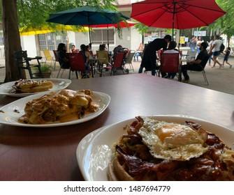 "Guadalajara, Mexico; August 25 2019: Colonia Americana, ""La Antigua Waffles"" Waffle house on Plaza Juarez.Waffles for brunch"