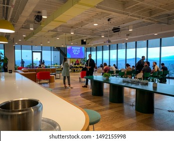 Guadalajara, Mexico - August 28 2019: Gathering inside WeWork offices at Midtown shopping mall