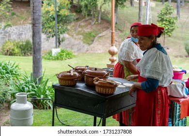 Guadalajara / mexico - February 2, 2020: mexican traditional Hand made tortilla and taco catering service