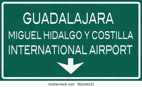 Guadalajara Mexico International Airport Highway Sign 2D Illustration