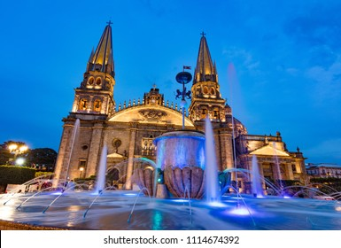 GUADALAJARA, MEXICO - January 1 2016 - Fountain in front of Main Cathedral. Gudalajara is the capital and largest city of the Mexican state of Jalisco, and the seat of the municipality of Guadalajara