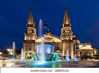 GUADALAJARA, MEXICO - January 1 2016 - The Main Cathedral at sunset. Gudalajara is the capital and largest city of the Mexican state of Jalisco.