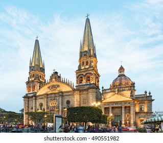 GUADALAJARA, MEXICO - January 1 2016 - Facade of Main Cathedral. Gudalajara is the capital and largest city of the Mexican state of Jalisco, and the seat of the municipality of Guadalajara