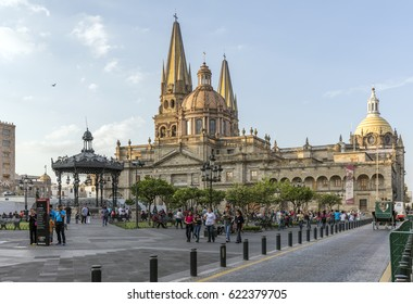 GUADALAJARA, MEXICO - January 1 2016 - The Main Cathedral at dusk. Gudalajara is the capital and largest city of the Mexican state of Jalisco.