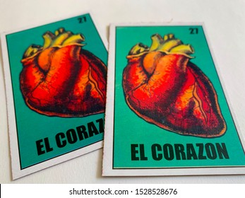 """Guadalajara, Mexico - October 11 2019: Mexican traditional lottery card game depicting an anatomic heart, text reading """"El Corazon"""" meaning """"the Heart"""""""