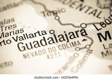 Guadalajara. Mexico on a map
