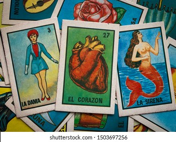 Guadalajara, Mexico - September 13 2019: Mexican traditional lottery card game showing a number of traditional characters such as the lady, the heart, the mermaid. Women love, lesbian