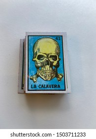 Guadalajara, Mexico - September 13 2019:  Mexican traditional lottery card game showing La Calavera, the skull, representing death. Number 42