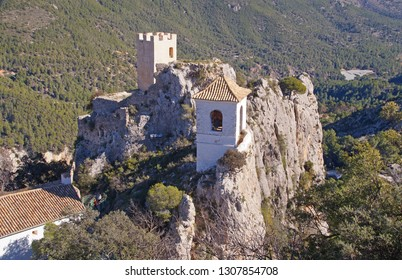 Guadalest Castle with the beautiful white bell tower in the province of Alicante, Spain