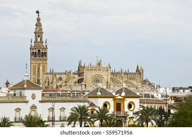 Guadalquivir river and skyline of Seville, Andalusia, Spain