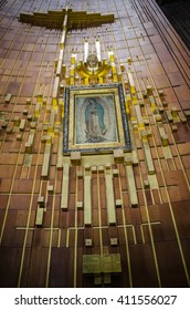 GUADALUPE, MEXICO - NOVEMBER 15, 2012: Guadalupe Painting Hanging Over Altar